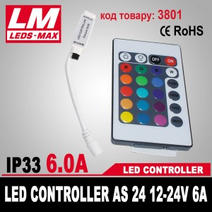 LED CONTROLLER AS 24 12-24V 6A (72W; 3x2A) (код товара 3801)