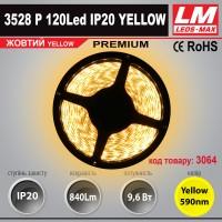 Светодиодная лента PREMIUM SMD 3528p 120Led IP20 YELLOW (9.6W; 840Lm; Желтый) (код товара 3064)