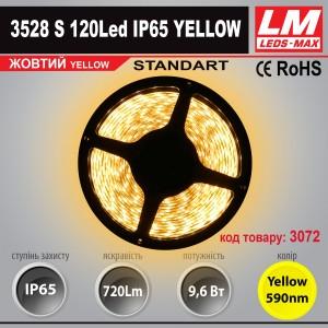 Светодиодная лента STANDART SMD 3528s 120 Led IP65 YELLOW (9.6W; 720Lm; Желтый) (код товара 3072)