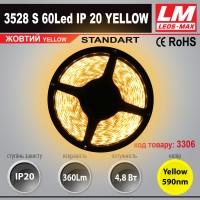 Светодиодная лента STANDART SMD 3528s 60Led IP20 YELLOW (4.8W; 360Lm; Желтый) (код товара 3006)
