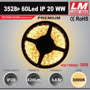 Светодиодная лента PREMIUM SMD 3528p 60Led IP20 WW (4.8W; 420Lm; 3000K) (код товара 3008)