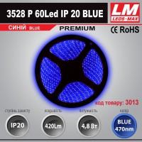 Светодиодная лента PREMIUM SMD 3528p 60Led IP20 BLUE (4.8W; 420Lm; Синий) (код товара 3013)