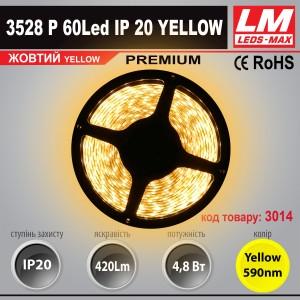 Светодиодная лента PREMIUM SMD 3528p 60Led IP20 YELLOW (4.8W; 420Lm; Желтый) (код товара 3014)