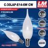 Светодиодная лампочка C30LAP-E14-6W CW (код товара 6059)