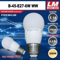 Светодиодная лампочка B45-E27-6W WW (код товара 6014)