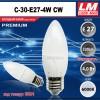 Светодиодная лампочка C30-E27-4W CW (код товара 6024)