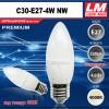 Светодиодная лампочка C30-E27-4W NW (код товара 6025)
