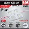 Светодиодный модуль 2835xp 4Led CW (IP67; 2.0W; 186 Lm; 6000K) (код товара 1380)