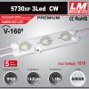 Светодиодный модуль 5730XP 3Led WW (IP68; 1.5W; 142 Lm; 3000K) (код товара 1514)
