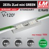 Светодиодный модуль 2835s 2LED mini GREEN (код товара 1054)