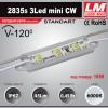 Светодиодный модуль 2835s 3LED mini CW (код товара 1059)
