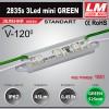 Светодиодный модуль 2835s 3LED mini GREEN (код товара 1061)