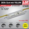 Светодиодный модуль 2835s 3LED mini YELLOW (код товара 1062)