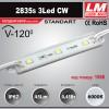 Светодиодный модуль 2835s 3LED CW (код товара 1066)