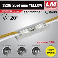 Светодиодный модуль 3528s 2Led mini YELLOW (код товара 1005)