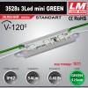 Светодиодный модуль 3528s 3Led mini GREEN (код товара 1011)