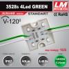 Светодиодный модуль 3528s 4Led GREEN (код товара 1025)