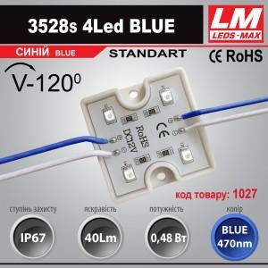 Светодиодный модуль 3528s 4Led BLUE (код товара 1027)