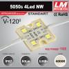 Светодиодный модуль 5050s 4Led NW (IP67; 0.96W; 80Lm; 4000K) (код товара 1122)