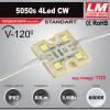 Светодиодный модуль 5050s 4Led CW (IP67; 0.96W; 80Lm; 6000K) (код товара 1123)