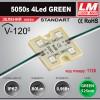 Светодиодный модуль 5050s 4Led GREEN (IP67; 0.96W; 80Lm; Зеленый) (код товара 1125)