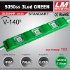 Светодиодный модуль 5050GS 3Led GREEN (IP67; 0.75W; 70Lm; Зеленый) (код товара 1132)