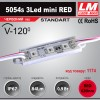 Светодиодный модуль 5054s 3Led mini RED (IP67; 0.9W; 84 Lm; Красный) (код товара 1174)