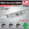 Светодиодный модуль 5054s 3Led mini GREEN (IP67; 0.9W; 84 Lm; Зеленый) (код товара 1175)