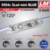 Светодиодный модуль 5054s 3Led mini BLUE (IP67; 0.9W; 84 Lm; Голубой) (код товара 1177)