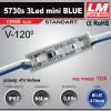 Светодиодный модуль 5730s 3Led mini BLUE (IP67; 0.9W; 86 Lm; Синий) (код товара 1220)
