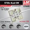 Светодиодный модуль 5730s 4Led CW (IP67; 1.2W; 114 Lm; 6000K) (код товара 1230)