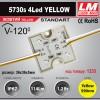 Светодиодный модуль 5730s 4Led YELLOW (IP67; 1.2W; 114 Lm; Желтый) (код товара 1233)