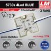 Светодиодный модуль 5730s 4Led BLUE (IP67; 1.2W; 114 Lm; Синий) (код товара 1234)